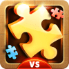 Puzzle-Go game app icon, a golden jigsaw                           puzzle piece.