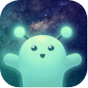 Wordly game app icon, a cheerful, jelly-like,                           glowing blue alien, with the starry night sky                           behind it.